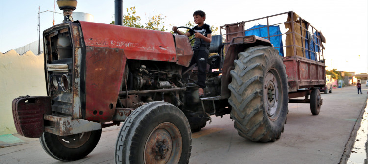 Ghassan, 10-year-old child working for his father as a tractor driver