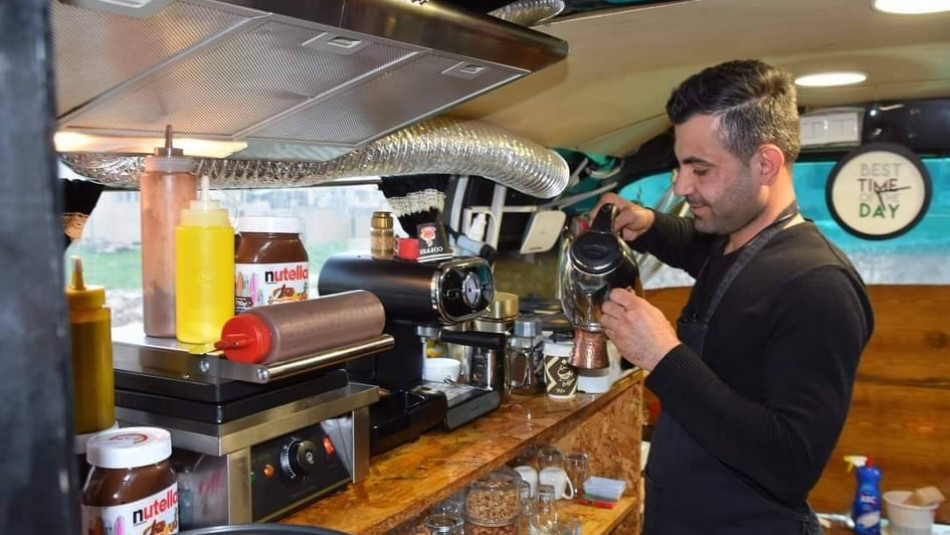 Nassim turns an old bus into a café in Bartalla