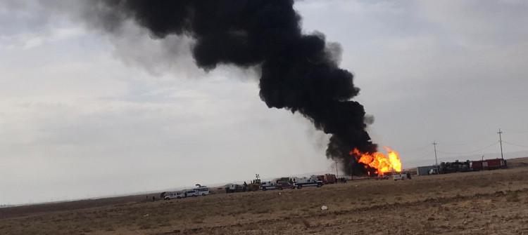 Oil well in Kirkuk still burns