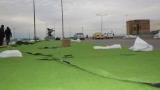 Artificial grass again installed on sidewalks of Kirkuk